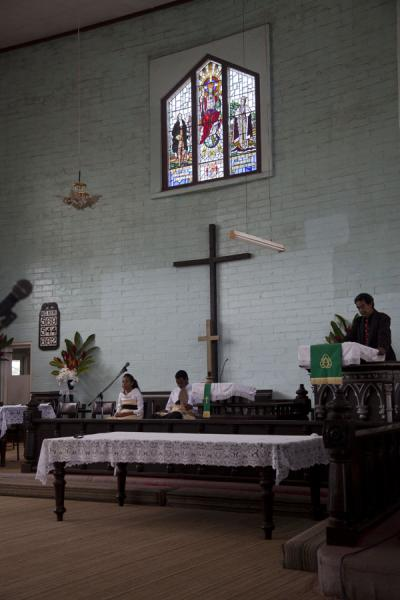 Picture of Tongan church services (Tonga): Church service in Neiafu led by a priest