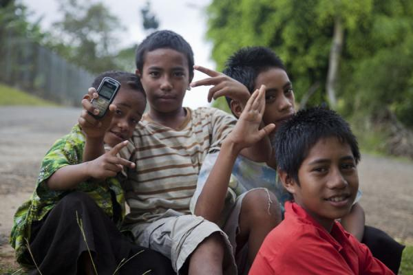 Picture of Young boys posing in a street of Neiafu on Vava'u island