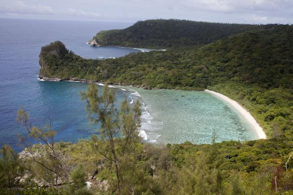 Picture of Vava'u Island (Tonga): Looking down at a beach and the spectacular coastline of northern Vava'u