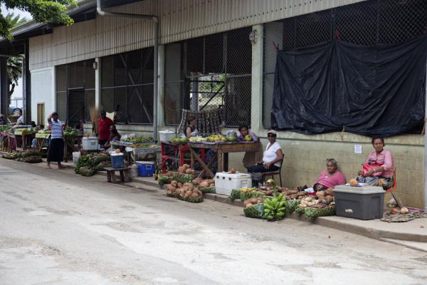 Picture of Vava'u Island (Tonga): 'Utukalongalu market with women selling vegetables