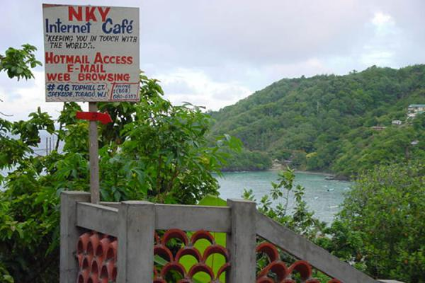 The most idyllic internet cafe I have seen so far - in Speyside | Trinidad signs | Trinidad & Tobago