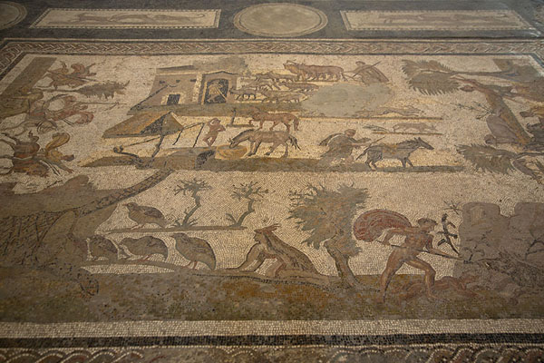 Mosaic with hunting scenes in the Bardo Museum | Bardo National Museum | Tunisia