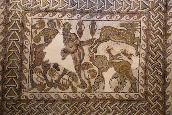 Animals and humans depicted in a mosaic | Museo nazionale del Bardo | Tunisia
