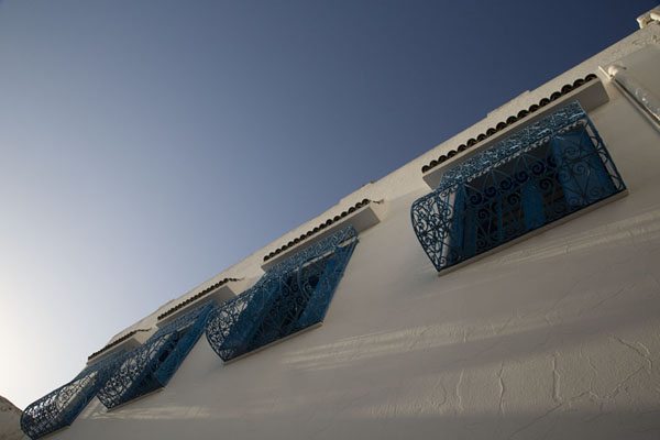 Looking up a wall with blue windows in Sidi Bou Said | Sidi Bou Said | Tunesië