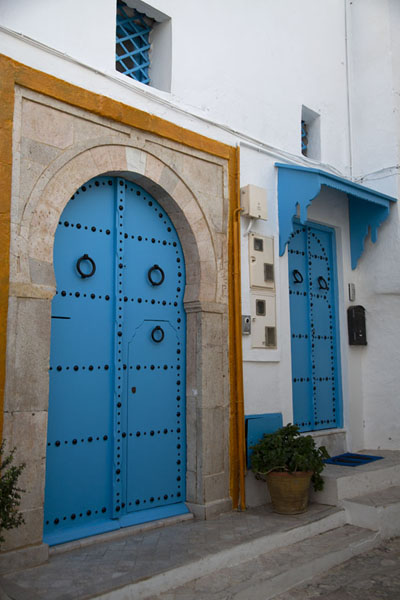 Wal with blue doors in Sidi Bou Said | Sidi Bou Said | Tunesië