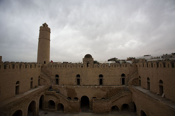 The courtyard of the Ribat of Sousse with its famous tower on the left | Sousse medina | Tunisie