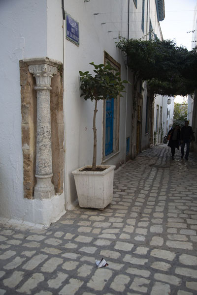 Picture of Tunis medina (Tunisia): Corner of cobblestone streets with Roman column in the medina of Tunis