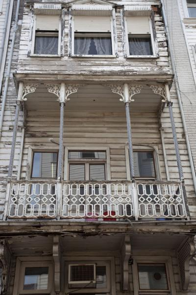 White wooden building with balcony in Arnavutköy | Arnavutköy | Turkey