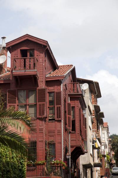 Picture of Street with red wooden building in ArnavutköyIstanbul - Turkey