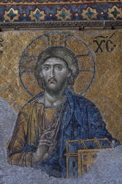Foto van Close-up of Christ Pantocrator at the Deësis mosaics on the eastern gallery of the Aya SofiaAya Sofia - Turkije