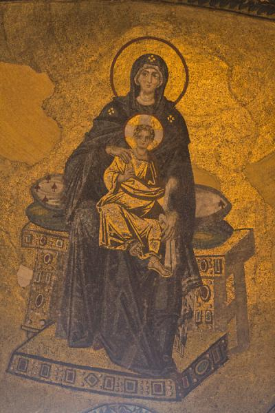 Detail of the mosaic on the semi-dome of the apse of the Aya Sofia, depicting Theotokos, or the Virgin with child | Aya Sofia | Turkey