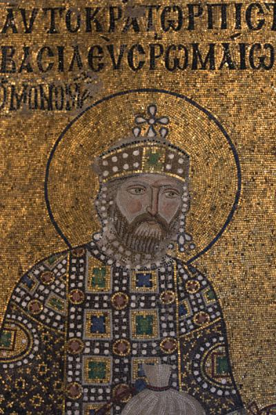 Foto van John II Comnenus, after which the mosaics are called on the eastern wall of the southern galleryAya Sofia - Turkije