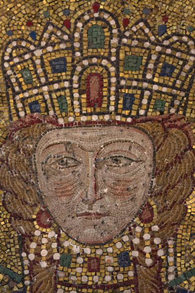 Foto di Empress Irene: close-up of Comnenus mosaic on the eastern wall of the southern galleryAya Sofia - Turchia