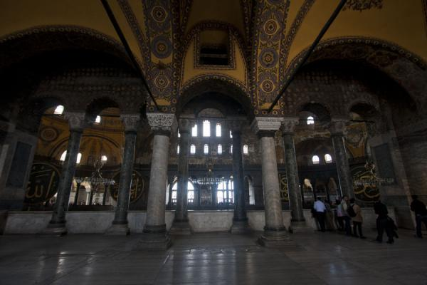 Looking into the main hall from the northern gallery on the first floor of the Aya Sofia | Aya Sofia | Turkey