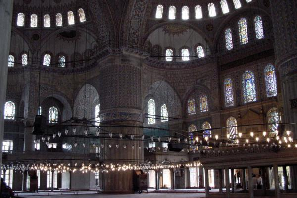 Picture of Blue Mosque: interior with many windows giving light