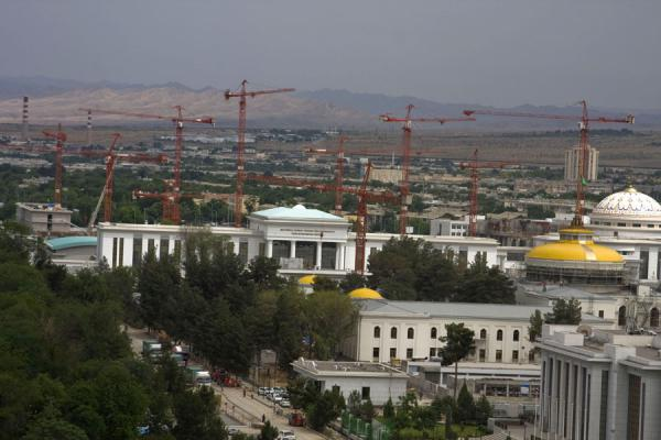 Cranes are part of the Ashgabat skyline | Arch of Neutrality | Turkmenistan