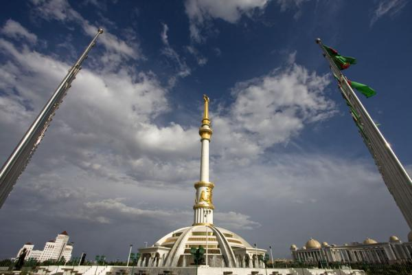 Picture of Turkmenistan (Turkmen flags framing the Independence monument)