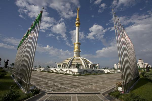 Picture of Independence Park (Turkmenistan): Focal point of nationalism: scores of flagpoles around the Independence monument