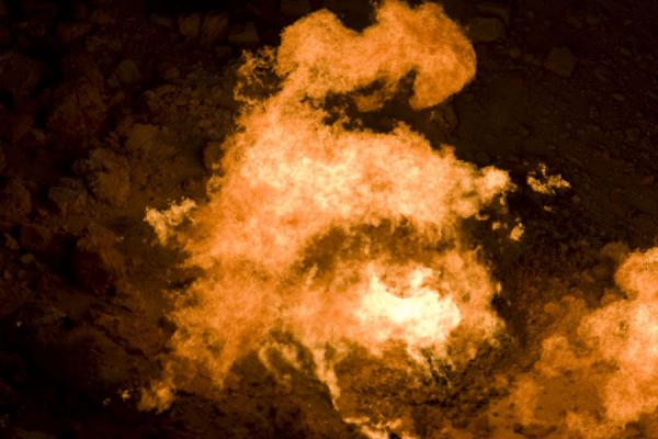 Picture of Darvaza gas crater (Turkmenistan): One of the flames of Darvaza gas crater