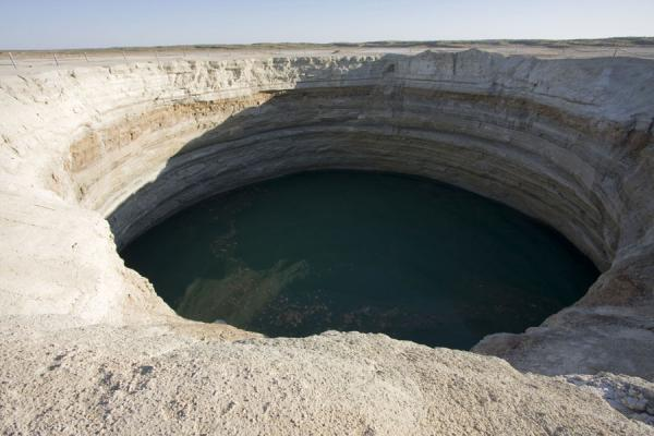 Picture of Darvaza gas crater (Turkmenistan): Water-filled crater near Darvaza