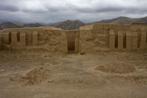 Picture of One of the restored buildings of Nisa under a grey skyNisa - Turkmenistan
