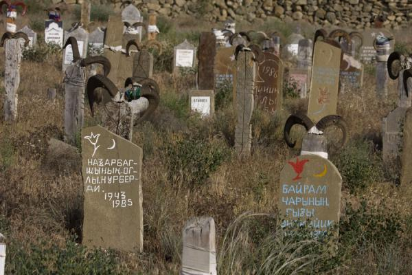 Picture of Nokhur (Turkmenistan): Horny tombstones at the cemetery of Nokhur