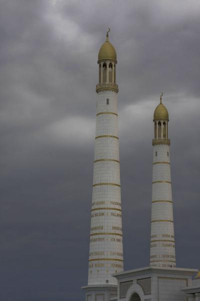 White and gold minarets of Turkmenbashy Ruhy mosque | Turkmenbashy Ruhy Mosque | Turkmenistan