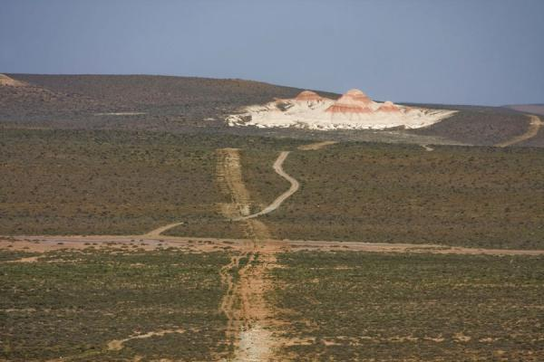 Foto van Roads leading through the ondulating landscape with red and white rock formationsYangykala - Turkmenistan