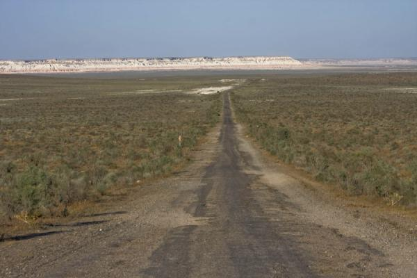Foto di Straight road in Yangykala CanyonYangykala - Turkmenistan