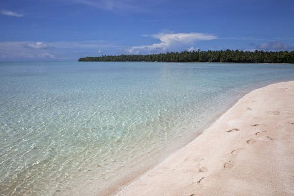 Foto de White beach with turquoise waters at Funafala isletFunafala - Tuvalu