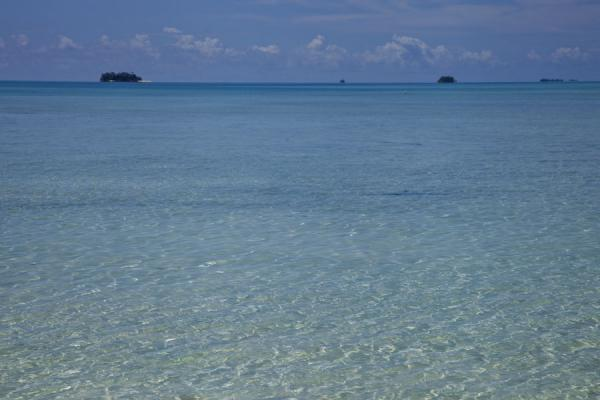 Some of the tiny islets of the western side of Funafuti atoll seen from Funafala islet | Funafala islet | Tuvalu
