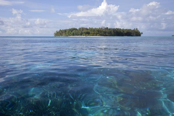Picture of Tepuka islet emerging from the blue waters of the Pacific - Tuvalu - Oceania