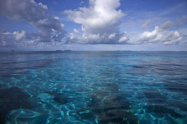 Foto de Tuvalu (Many shades of blue in the lagoon of Funafuti atoll: looking east from Tepuka islet)