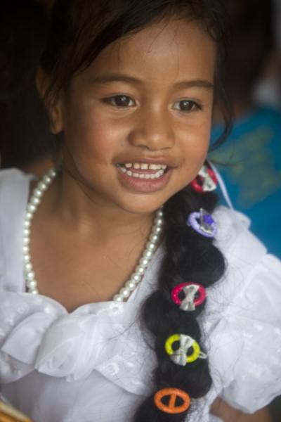 Tuvaluan girl dressed up for church service | Tuvaluan people | Tuvalu