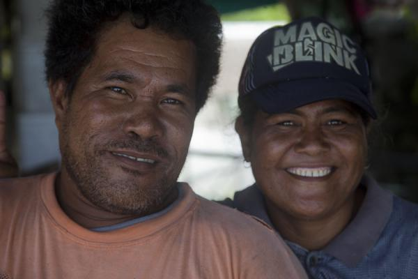 Picture of Tuvaluan couple smiling in their house on Funafala islet