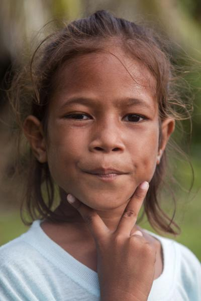 Tuvaluan girl with serious pose | Tuvaluan people | Tuvalu