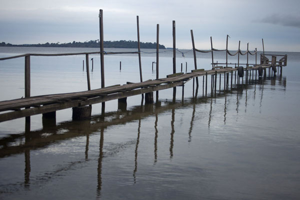 Picture of Wooden pier jutting right out into Lutoboka Bay