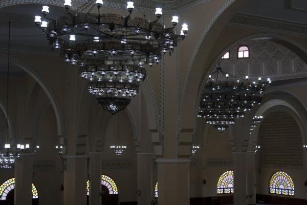 Chandeliers and arches in the main prayer hall of the mosque | Gadhafi National Mosque | Uganda