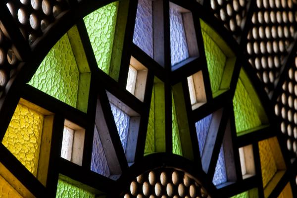 Picture of Gadhafi National Mosque (Uganda): Coloured stained glass in the main prayer hall of the mosque