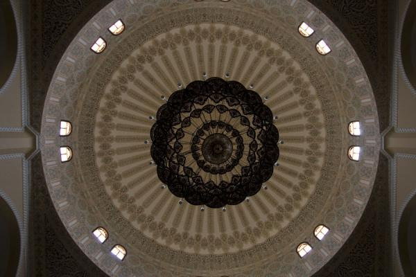 Picture of Gadhafi National Mosque (Uganda): Richly decorated cupola with chandelier seen from below