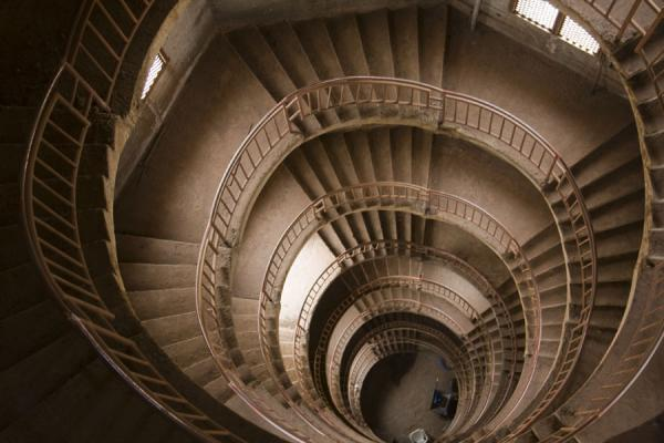 Looking down the stairs of the minaret | Gadhafi National Mosque | Uganda