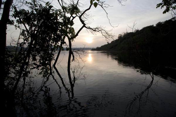 Picture of Jinja (Uganda): Sun shining low on the Nile near Bujagali, north of Jinja