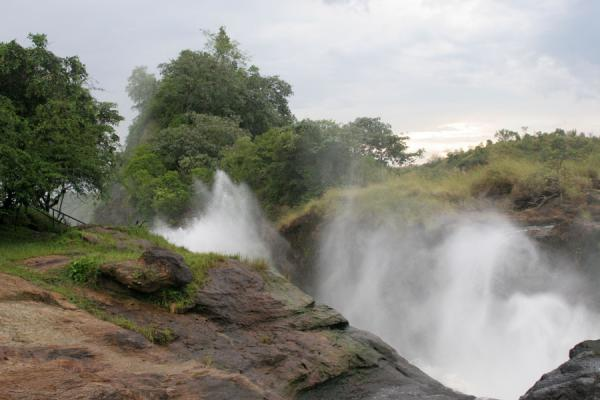 Water forming a reverse water fall inside the gorge of Murchison Falls | Murchison Falls | Uganda
