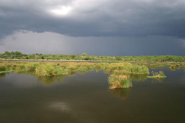 Dark clouds and green islets forming the scenery of the Victoria Nile | Uganda Light | Uganda