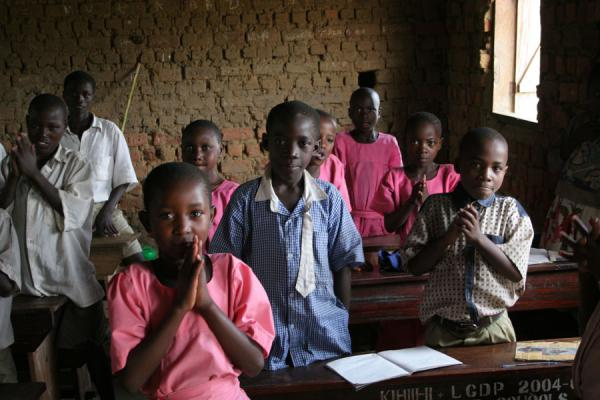 Picture of Ugandan schoolkids in classroom
