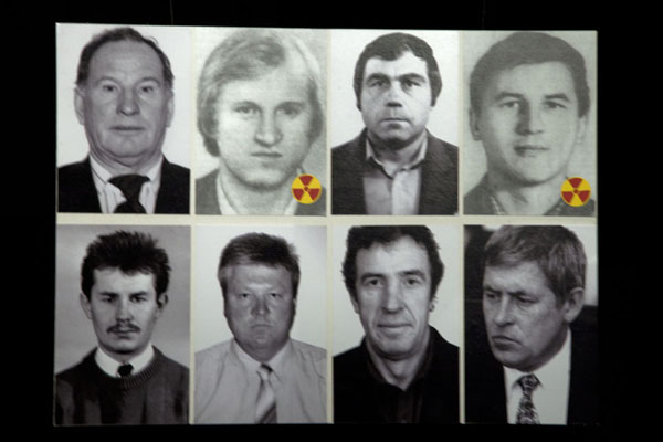 Foto di A few people directly involved, with those who died of radiation markedKiev - Ucraina