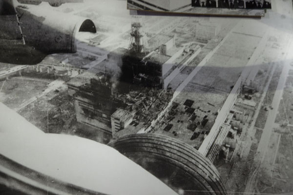 Picture of Black and white aerial picture of the disaster site in 1986