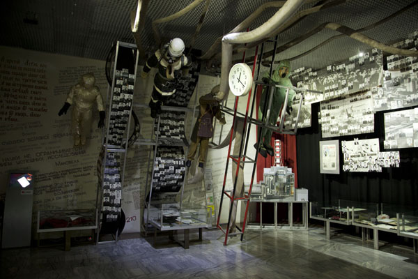 Protective clothes, pictures, and a clock stopped at the time of the disaster | Chernobyl Museum | Ukraine