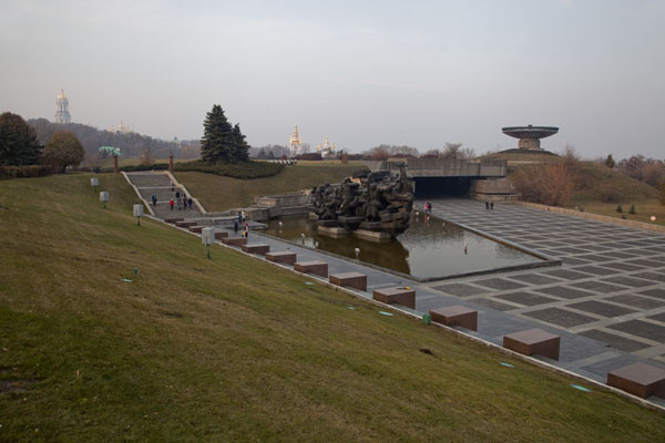 Picture of History of Great Patriotic War museum (Ukraine): View of the complex with eternal flame and pool, seen from the feet of Rodina Mat