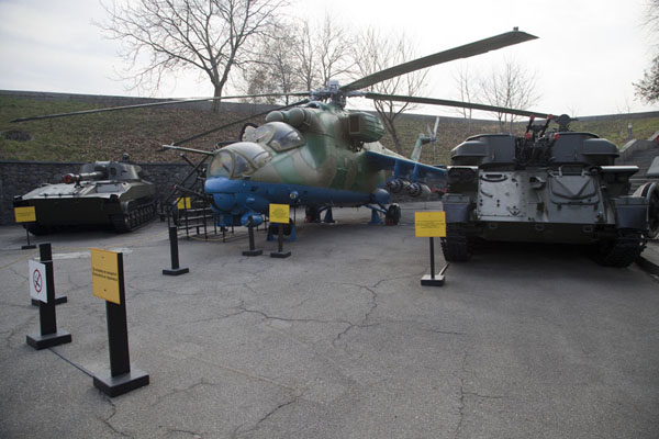 One of the helicopters on display on the grounds of the complex | History of Great Patriotic War museum | Ukraine